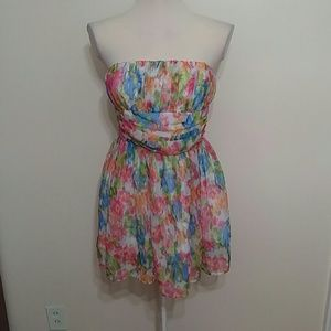 Steve Madden strapless floral watercolor dress